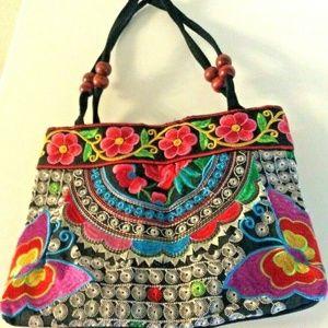 Embroidered Handbag Handmade Floral Ethnic Canvas